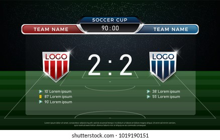 soccer scoreboard team A vs team B strategy broadcast graphic template, football score for web, poster, banner. vector illustration