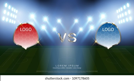 Soccer scoreboard team A vs team B broadcast graphic template with flag and stadium background, For your presentation of the match results of football tournament (EPS10 vectorfile, fully editable)