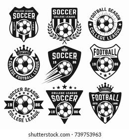 Soccer set of black vector emblems, badges, labels or logos isolated on white background