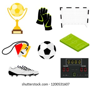 Soccer set of icons with field, ball, trophy, scoreboard, whistle, gloves and boots isolated vector illustration