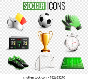 Soccer set of icons with referees objects, goal, trophy, ball, boots isolated on transparent background vector illustration