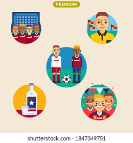Vektorgrafik von Fußballsymbolen