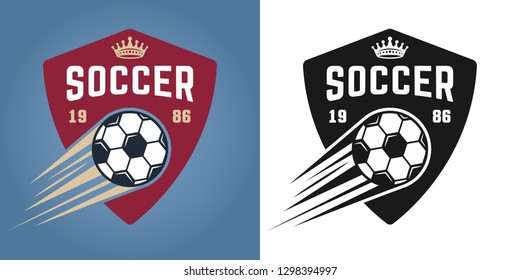 Soccer set of two styles vector emblems, badges, labels or logos with flying ball isolated on colored and white background