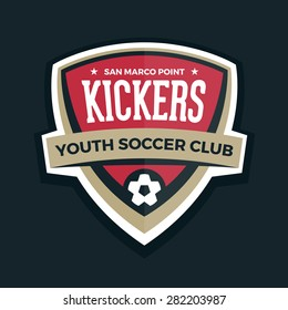 Soccer shield logo football badge crest graphic with text