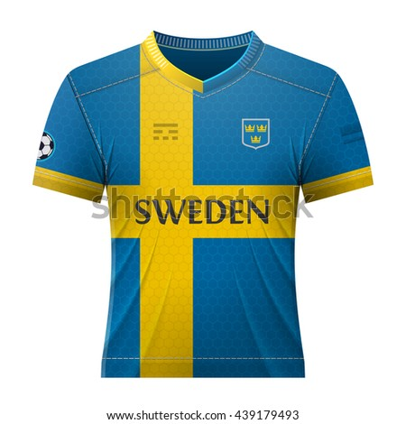 Soccer shirt in colors of swedish flag. National jersey for football team  of Sweden. 3e5d9794b