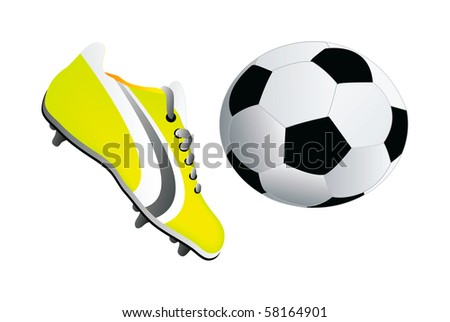 cc25f5ff0 Soccer Shoe Ball Isolated On White Stock Vector (Royalty Free ...