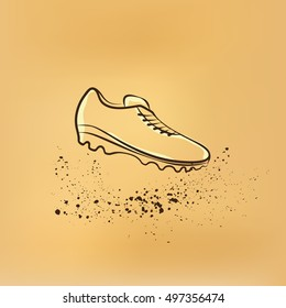 Soccer Shoes. Vector retro drawing illustration.