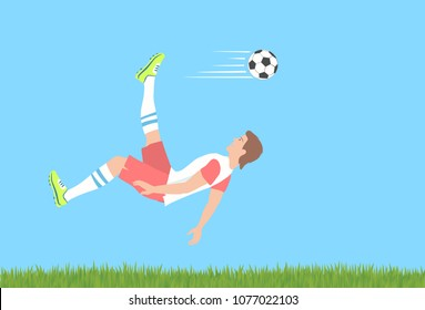 Soccer shot with the cycling motion. Stunning overhead kick or bicycle kick as advanced football skill. Vector illustration EPS-8.
