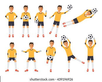 Soccer sport athletes, football goalkeeper playing, kicking, training and practicing football. Flat design people characters.