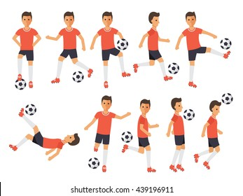 Soccer sport athletes, football players playing, kicking, training and practicing football. Flat design people characters.