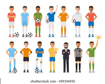 Soccer sport athletes, football players, soccer team manager and football referee. Flat design people characters.