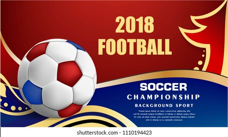 soccer sport on blue and red with golden wave background, Football world cup competition pattern, shapes, lines pattern, soccer ball, goal tournament award icons,vector international championship 2018