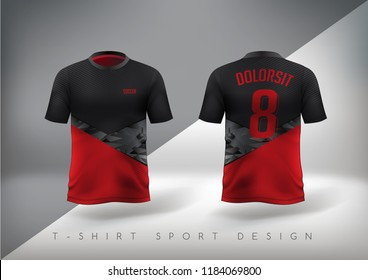 Soccer sport t-shirt design slim-fitting red and black with round neck. Vector illustration.