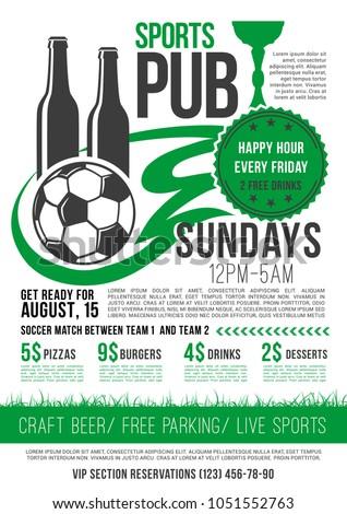 soccer sports bar menu template football stock vector royalty free