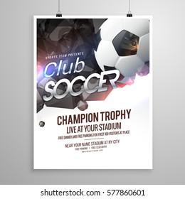 soccer sports brochure flyer design template