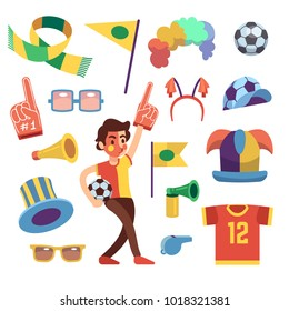 Soccer sports funs with tools to cheer team win. Cartoon vector set. Sport soccer and football cheering elements illustration