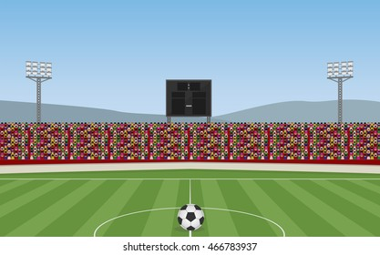 Soccer Stadium With Ball and Crowd on Grandstand. Vector