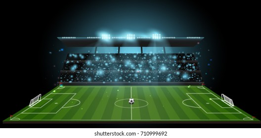 soccer stadium with ball on football field and spotlight with abstract glitter light and crowd on soccer stadium at night ,soccer sport vector background concept