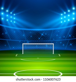 Soccer stadium. Football arena field with goal and bright stadium lights. Football World Cup. Vector illustration