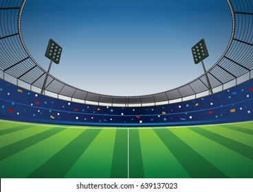 Soccer stadium football cheer fans vector background