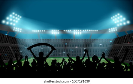 soccer stadium with football field and ball with spotlight at night with glitter light and silhouette fan stand up and hand flag, crowd at seat on soccer stadium,sport concept