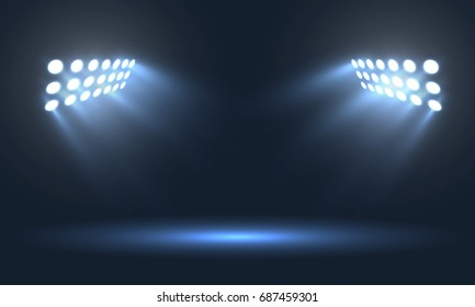 Soccer stadium projectors light vector template.