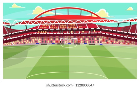 Soccer stadium vector illustration. Football, arena, field, bleacher. Football concept. Can be used for topics like match, championship, sport, fan club