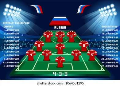 Soccer starting lineup squad, football russia world cup 2018 tournament. Champions league team list vector illustration background.