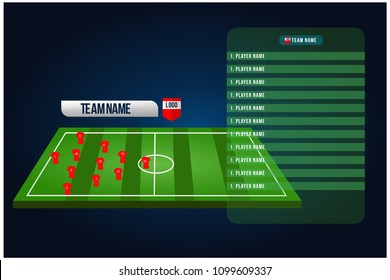 Soccer Starting Lineup Squad Football Playing Field With Set Of Infographic Broadcast Graphics For