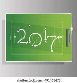 Soccer strategy goal 2017 green board background