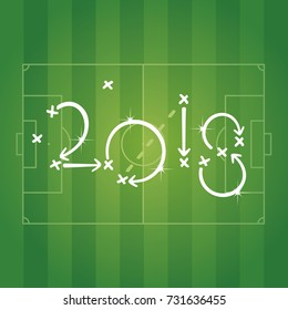 Soccer strategy for goal 2018 green background