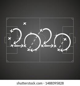 Soccer strategy for goal 2020 black board background