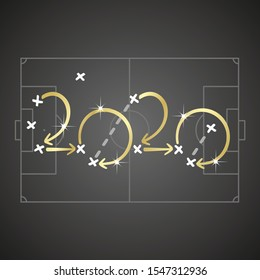Soccer strategy for goal 2020 gold arrows black board background