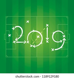 Soccer strategy New Year 2019 green field background
