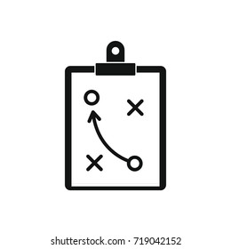 Soccer strategy tactic plan icon. Black simple silhouette illustration of Soccer strategy tactic plan vector icon for web isolated on white background