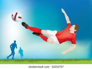 soccer striker does flying kick wearing red shirt