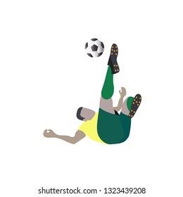 Soccer striker shoot football with bicycle kick, ball, isolated