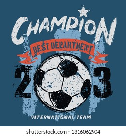 soccer t shirt graphic design with grunge background