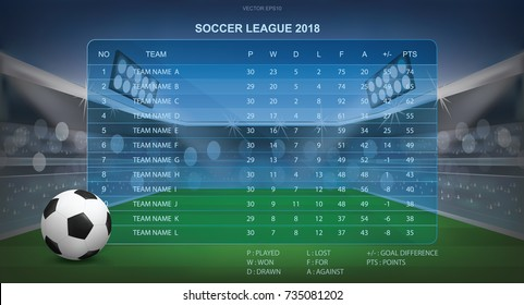 Soccer table with background of sport stadium. Vector illustration.