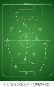 Soccer tactic table. Defensive. Vector illustration