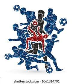 Soccer team composition, soccer player action designed using grunge brush graphic vector