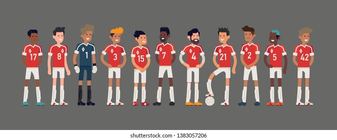 Soccer team lineup vector illustration in trendy flat style. Character design on 11 football players group including goalkeeper