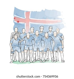 soccer team pose for a photo before the soccer match with Iceland flag. watercolour style. hand drawn illustration of football team.