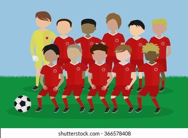 soccer team red uniform cartoon vector