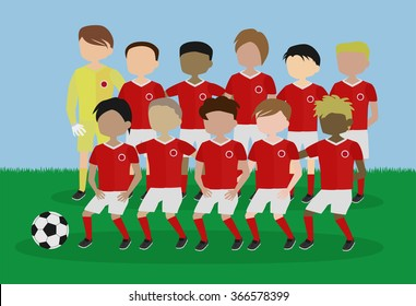 soccer team red and white uniform cartoon vector