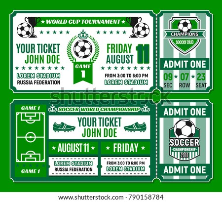 soccer ticket template football world cup stock vector royalty free