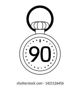 Soccer timer with ninety minutes symbol vector illustration graphic design