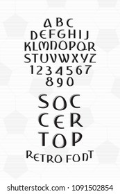 Soccer Top Hand Drawn Retro Cyrillic Style Font with Sport Trophy Shape Lettering - Black Caps and Numerals on Football Ball Texture Background - Vector Crafted Typography Design