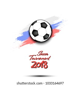 Soccer tournament 2018. Football logo template design. Vector illustration