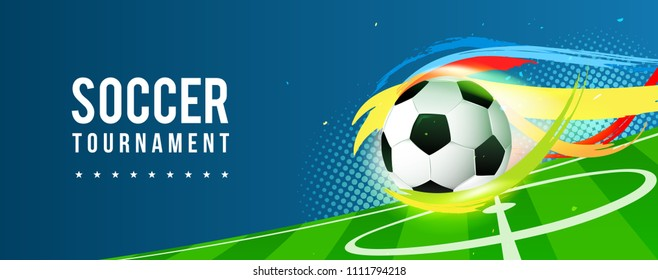 Soccer tournament banner vector illustration. Ball in football pitch background.